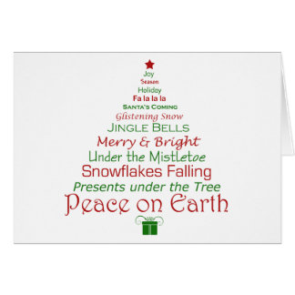 Paix sur la carte d'arbre de Noël de la terre