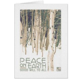 Paix sur la carte de Noël d'artisan de la terre