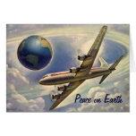 Paix sur la carte de Noël vintage d'avion de la