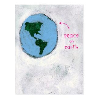 paix sur la carte postale de la terre