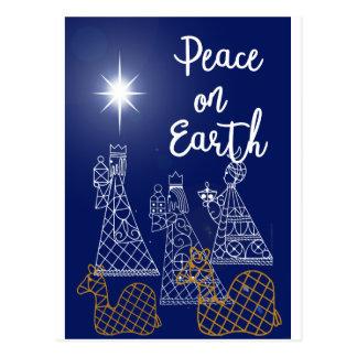 Paix sur la carte postale de la terre et de trois