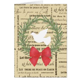 Paix sur la colombe de la terre, feuille olive, carte de vœux