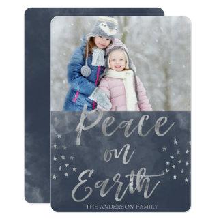 Paix sur la photo bleue et argentée de la terre carton d'invitation  12,7 cm x 17,78 cm