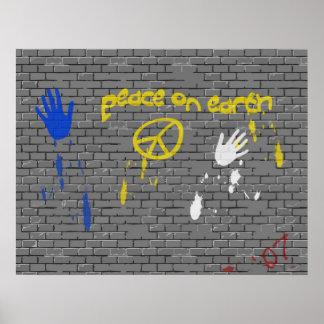 Paix sur l'affiche de graffiti de la terre posters