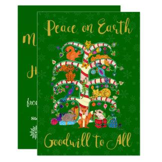 Paix sur l'arbre animal de la terre des vacances carton d'invitation  12,7 cm x 17,78 cm