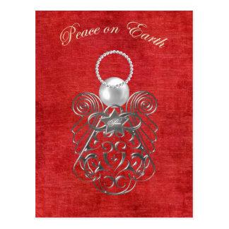 Paix sur terre - ange de Noël de paix - rouge Carte Postale