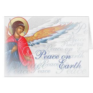 """""""Paix sur terre"""" avec la scène d'ange et de Carte De Vœux"""