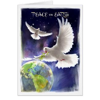 Paix sur terre. Carte de fin de année de colombes
