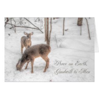 Paix sur terre - deux cerfs communs en bois de carte de vœux