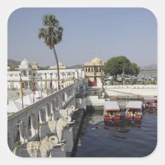 Palais de Mindar de pointe, lac Pichola, Udaipur, Sticker Carré