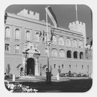 Palais princier 1970 de principauté vintage du sticker carré