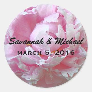 Pâle - étiquette rose de faveur de mariage de sticker rond