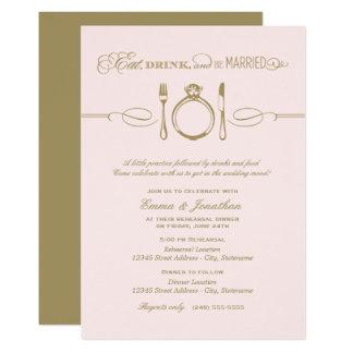 Pâle - le dîner rose | de répétition mangent la carton d'invitation  12,7 cm x 17,78 cm