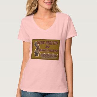 Pâle - pièce en t femelle saine de V-cou de séjour T-shirt