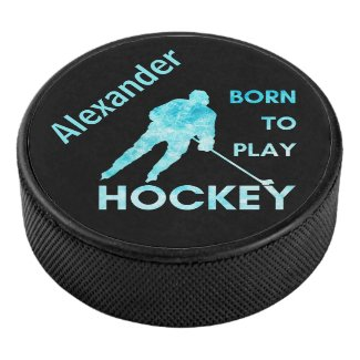 Palet De Hockey Hockey player puck Born to play frozen blue name