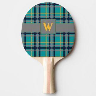 Palette bleue et orange de ping-pong de plaid raquette tennis de table