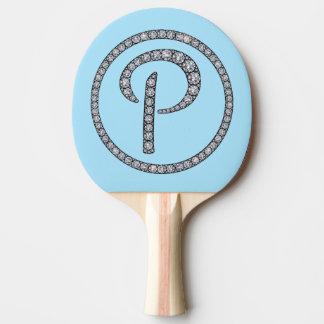 Palette bling de ping-pong de monogramme de P Raquette Tennis De Table
