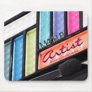Palette colorée de fard à paupières de maquilleur tapis de souris