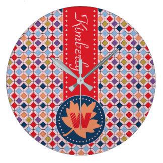 Palette de couleurs à la mode de mode d'automne grande horloge ronde