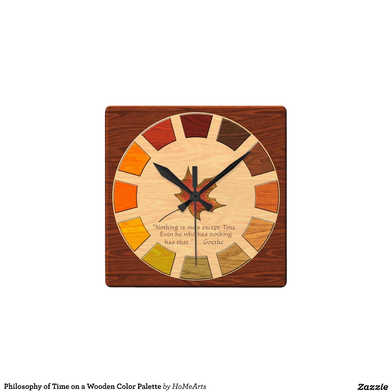 palette de couleurs en bois horloge murale zazzle. Black Bedroom Furniture Sets. Home Design Ideas