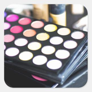 Palette de maquillage et brosses - copie de beauté sticker carré