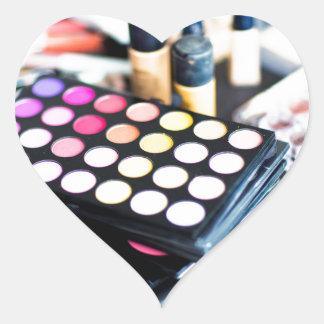 Palette de maquillage et brosses - copie de beauté sticker cœur