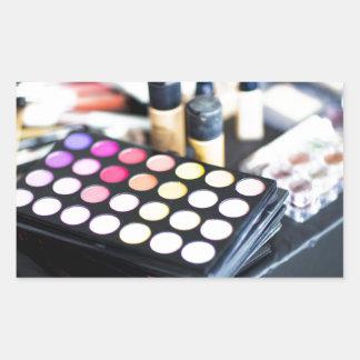Palette de maquillage et brosses - copie de beauté sticker rectangulaire
