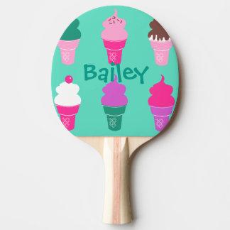 Palette de ping-pong de cornet de crème glacée raquette tennis de table