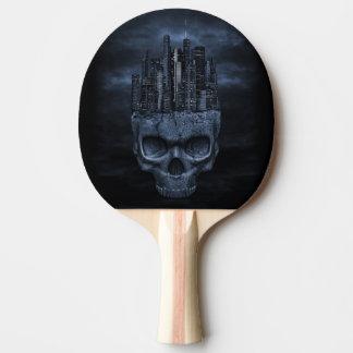 Palette gothique de ping-pong de ville de crâne raquette tennis de table