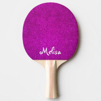 Palette rose de ping-pong de scintillement pour la raquette tennis de table