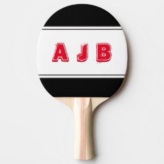 Palette rouge de rayures de monogramme raquette tennis de table