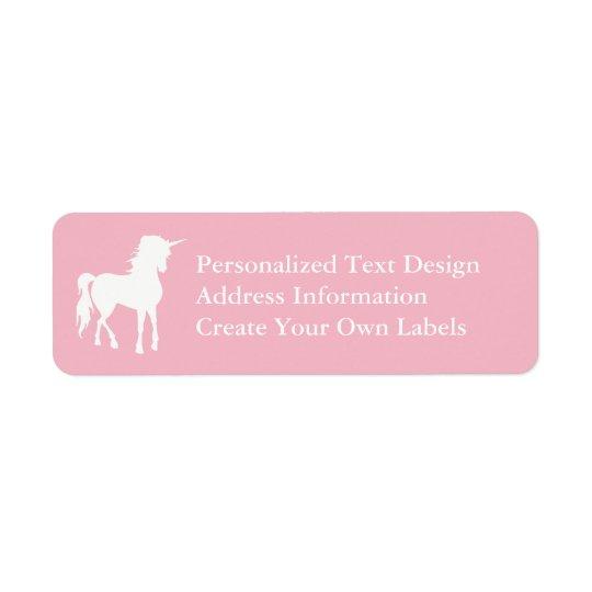 Pâlissez - la licorne rose et blanche étiquette d'adresse retour
