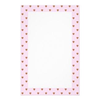 Pâlissez - le modèle rose et brun de coeur papier à lettre personnalisé