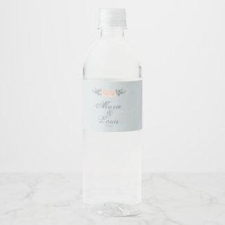 Pâlissez - romantique rose s'est levé étiquette pour bouteilles d'eau