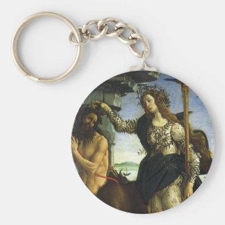 Pallas et le centaure par Sandro Botticelli Porte-clé Rond