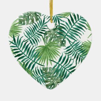 Palmette botanique tropicale de plante ornement cœur en céramique