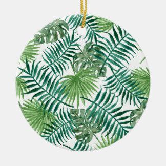 Palmette botanique tropicale de plante ornement rond en céramique