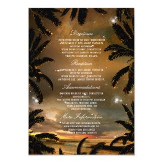 Palmettes de coucher du soleil de plage épousant carton d'invitation  11,43 cm x 15,87 cm