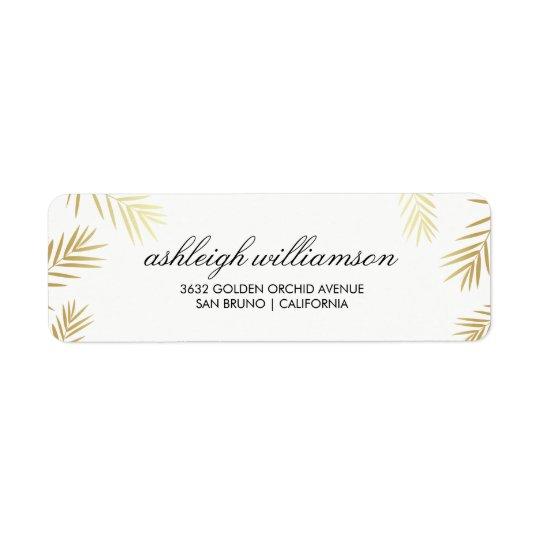Palmettes d'or sur le mariage tropical du blanc | étiquette d'adresse retour