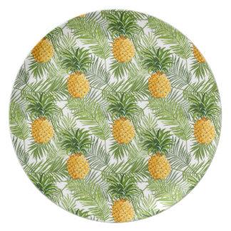 Palmettes et ananas tropicaux assiettes en mélamine