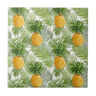 Palmettes et ananas tropicaux petit carreau carré