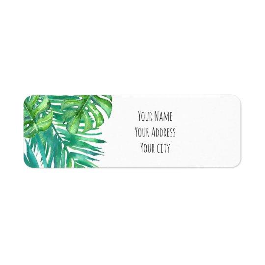 palmettes tropicales d'aquarelle étiquettes d'adresse retour