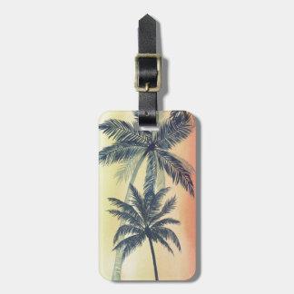 Palmettes tropicales étiquette à bagage