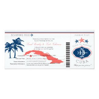 Palmier bleu et de corail de carte d'embarquement carton d'invitation  10,16 cm x 23,49 cm