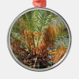 Palmier dattier ornement rond argenté
