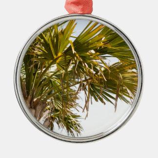 Palmier de la Côte Est Myrtle Beach célèbre Ornement Rond Argenté