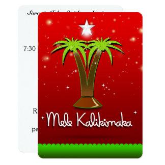 Palmier de Mele Kalikimaka pour Noël Carton D'invitation 12,7 Cm X 17,78 Cm