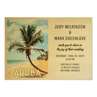 Palmier de plage de faire-part de mariage d'Aruba