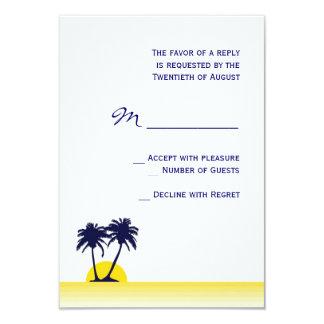 Palmier de plage épousant la carte de RSVP Carton D'invitation 8,89 Cm X 12,70 Cm