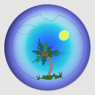 Palmier en mer sticker rond
